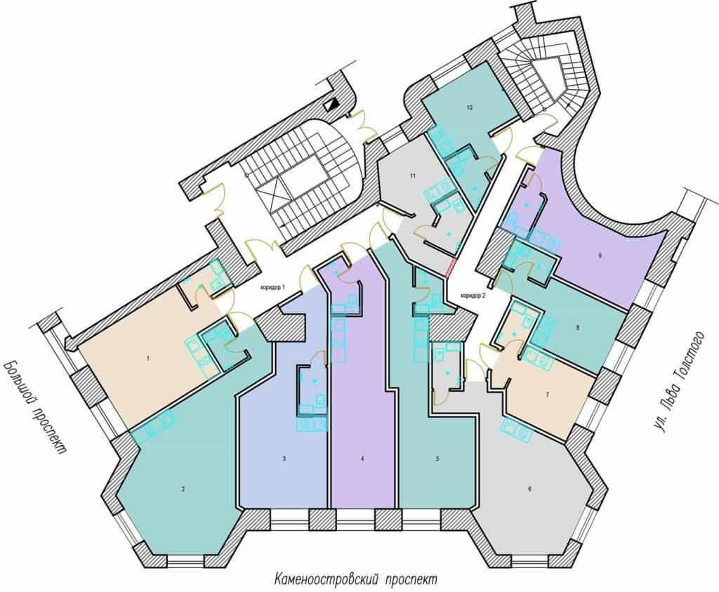 планировки студий Большой проспект ПС 75_35 3 этаж